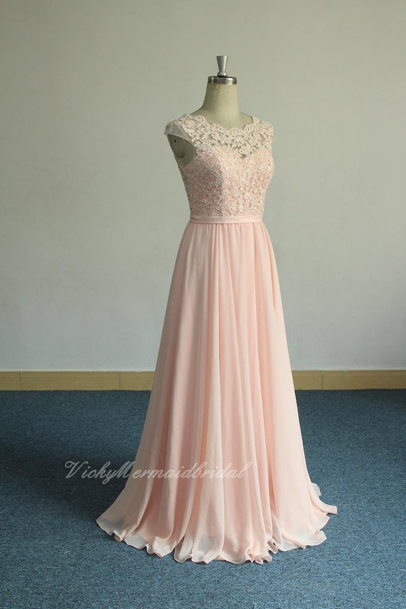 2ed16e1de24 Romantic blush pink aline chiffon lace wedding dressbohemian