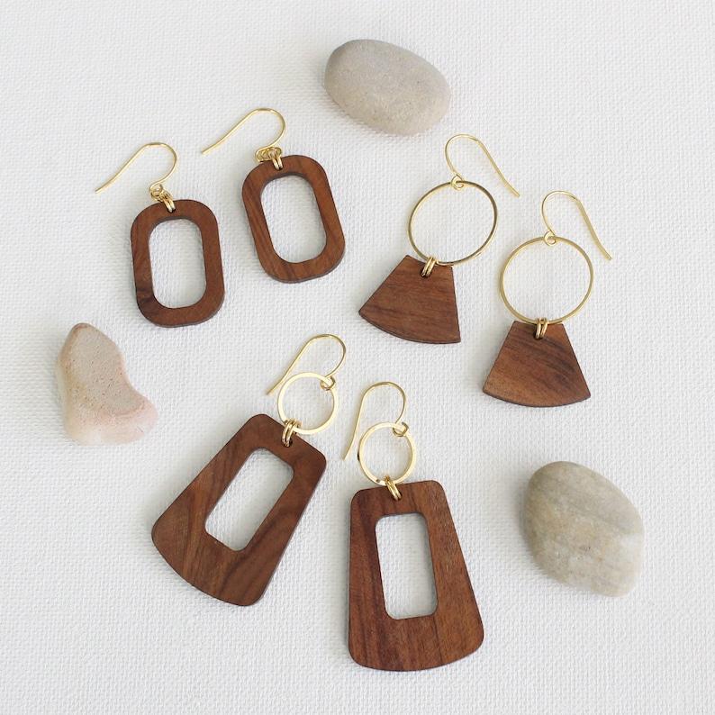 Wood hoop earrings  Gold /& wood hoops  Dangle earrings  Boho earrings  Boho jewelry  Aura Jewelry Pasadena