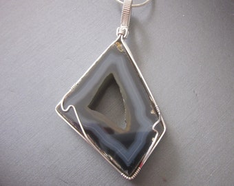 Polyhedroid Agate Pendant & Chain #2, , Polyhedroid Agate, Polyhedroid Jewelry