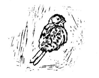 Golden Weaver Bird Lino Cut Print