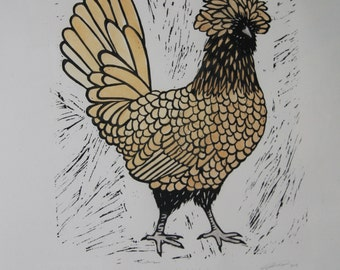 Gold Laced Polish Chicken Lino Cut Print, handmade, art, gift