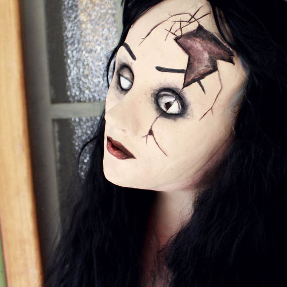 Porcelain Doll Mask Crack Broken Gothic Scary Halloween Adult Costume Accessory