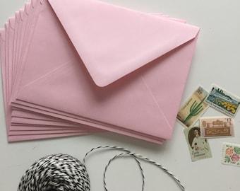 SALE - Set of 10 Rose Pink European Pointed Flap A7 Envelopes