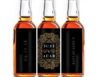 Custom Liquor Mini Bottle Favors - Personalized Wedding Favors - Mini Liquor Labels - Engagement Party - Art Deco - Black & Gold 10 to a set