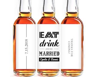 Custom Liquor Mini Bottle Favors - Personalized Labels - Wedding Favors - Mini Liquor Labels - Engagement Party Favors - 10 to a set