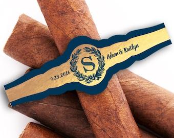 Custom Cigar Bands - Wedding Cigar Labels - Cigar Bar - Monogram - Cigar Bands