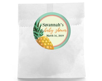 Pineapple Baby Shower - Baby Shower Favor Labels - Baby Shower Favor Stickers - Custom Favor Sticker - Baby Shower Favor - Favor Box Label