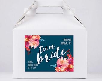 Bachelorette Party - Bachelorette Favors - Team Bride - Bachelorette Boxes - Wedding Favor Box - Gable Box - Favor Box - Hangover Kit