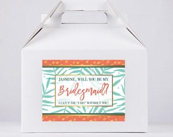 Will You Be My Bridesmaid Proposal - Will You Be My Bridesmaid Gift Box- Wedding Favor Box - Gable Box - Will You Be My Bridesmaid Box