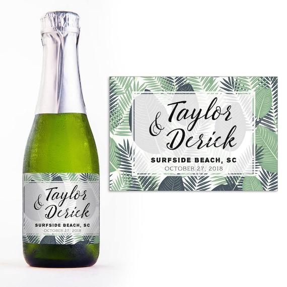 Mini Champagne Personalized Labels Wedding Favors Mini Etsy