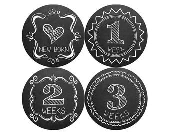Monthly Baby Milestone Stickers Baby Boy Baby Shower Gift One-Piece Baby Stickers Monthly Baby Stickers Baby Month Sticker