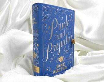 Pride and Prejudice by Jane Austen Book Clutch Purse - Blue, White, Gold