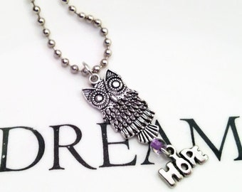 Owl, Owl Necklace, Owl Never Lose Hope Necklace, Never Lose Hope, Hope Necklace, Hope
