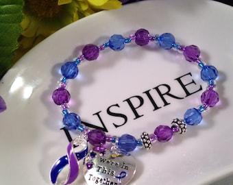 Rheumatoid Arthritis, RA Awareness, Rheumatoid Disease, RD, Purple beads, Blue Beads, Mixed connective tissue disease, MCTD, Gift For Her