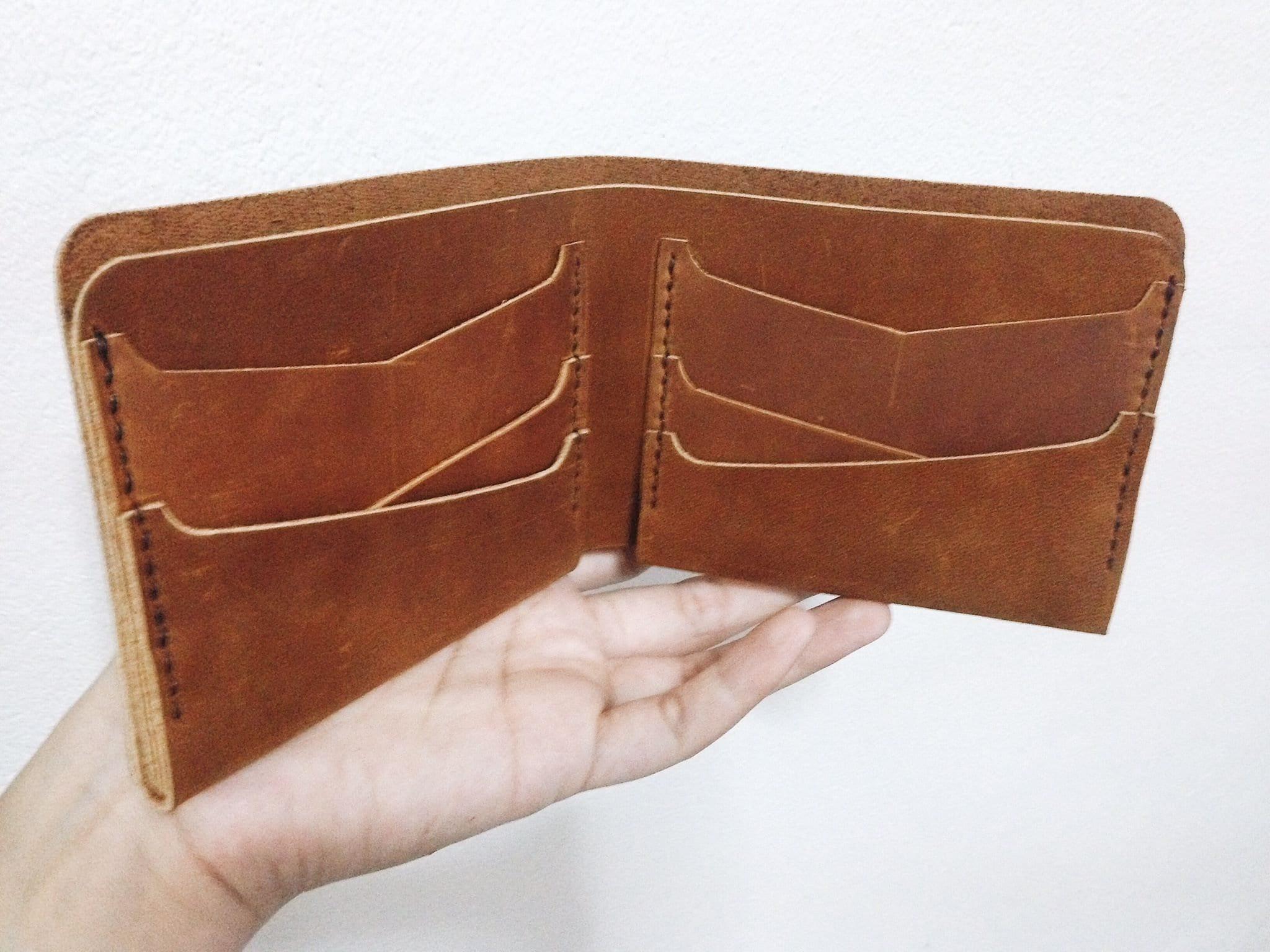 Tan oil leather wallet, leather billfold, men wallet