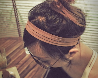 Hand stitched Tan Oil leather headband, leather hairband unisex style.