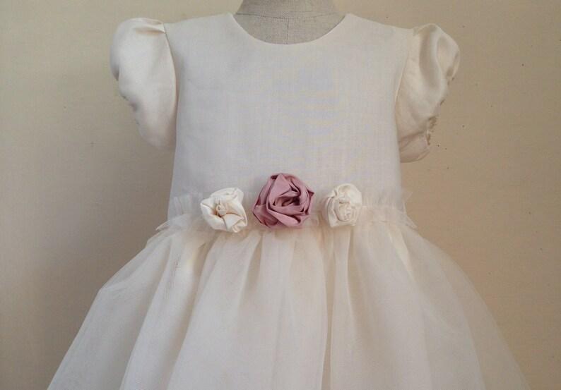 1b2afdae0085af Taufkleid Mädchen Taufe Hochzeit Blumenmädchen Seide Leinen