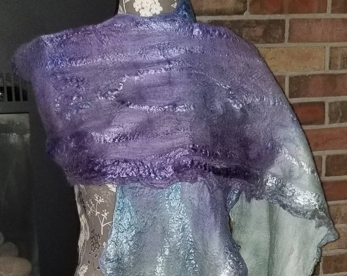 Featured listing image: Field of Dreams - Nuno Felted Alpaca Scarf in Lilac, Blue & Green