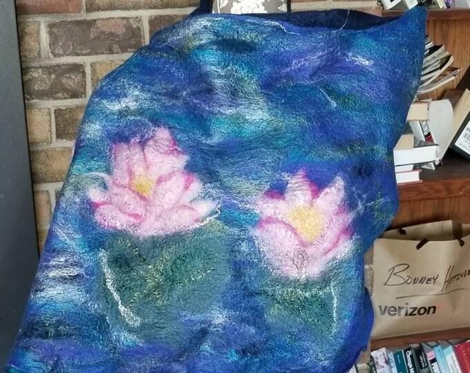 Featured listing image: Waterlilies Nuno Felted Alpaca Wrap