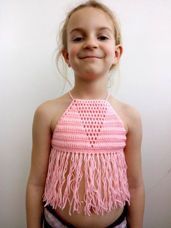 4be673d616b10 TODDLER CROP TOP Fringe Festival Corset Crochet Fringe Summer