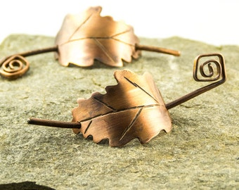 rustic copper oak leaf pin clip or grip for hair scarf or shawl, small size