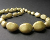 1950s Olive Green Glass Necklace