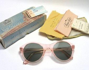 a67354a03e 1950s Peachy Pink (Rose) Sunglasses - Original Box - Vintage Sunglasses.  SwankyJewels Sold