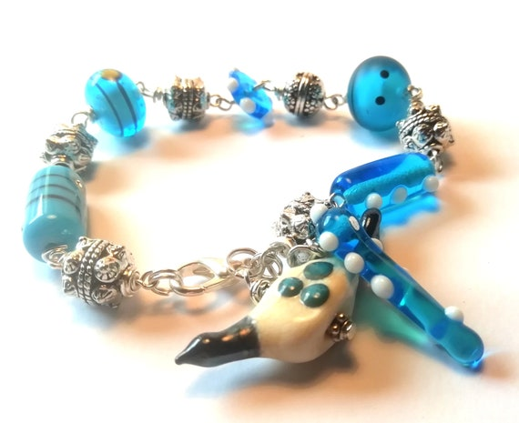 Lamp work glass birdhouse Blues Bracelet 34