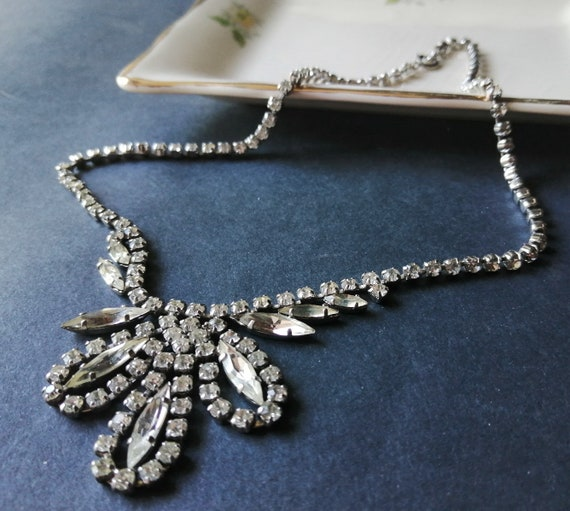 1950/'s Clear Rhinestone 16 Necklace ~ Vintage Jewelry ~ Prom ~ Wedding Jewelry ~ Mid-Century Fashion ~ Formal ~ Valentines Gift