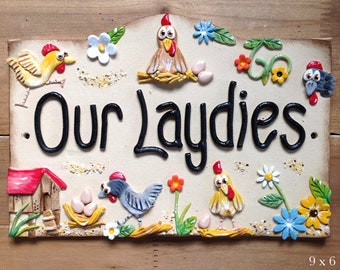 Hen House Sign, custom made and hand painted ceramic plaque