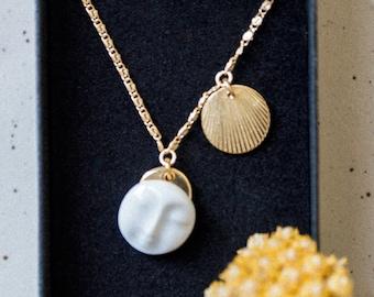 Moon Face neck collar, ceramic porcelain medal pendant