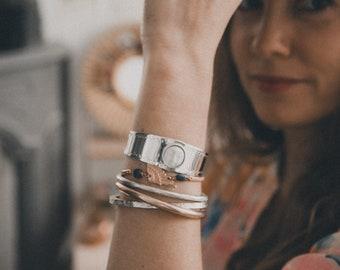 MOON cuff bracelet half silver rush 925, solid silver, mixed model, adjustable