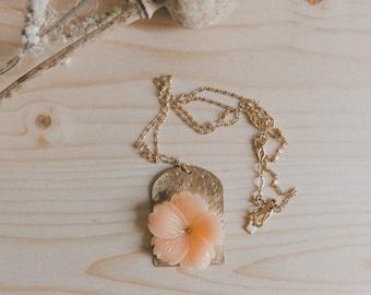 KARANG necklace, long necklace, coral flower, gold with fine gold, engraving, matte metal