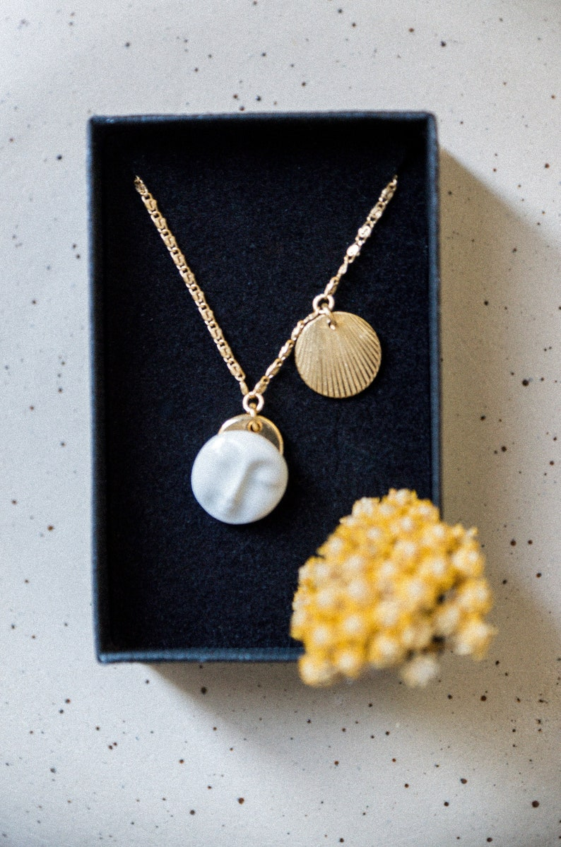 Moon Face neck collar ceramic porcelain medal pendant image 0