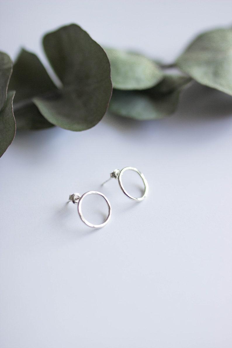 Earrings rings hammered metal circles jewelry women image 0