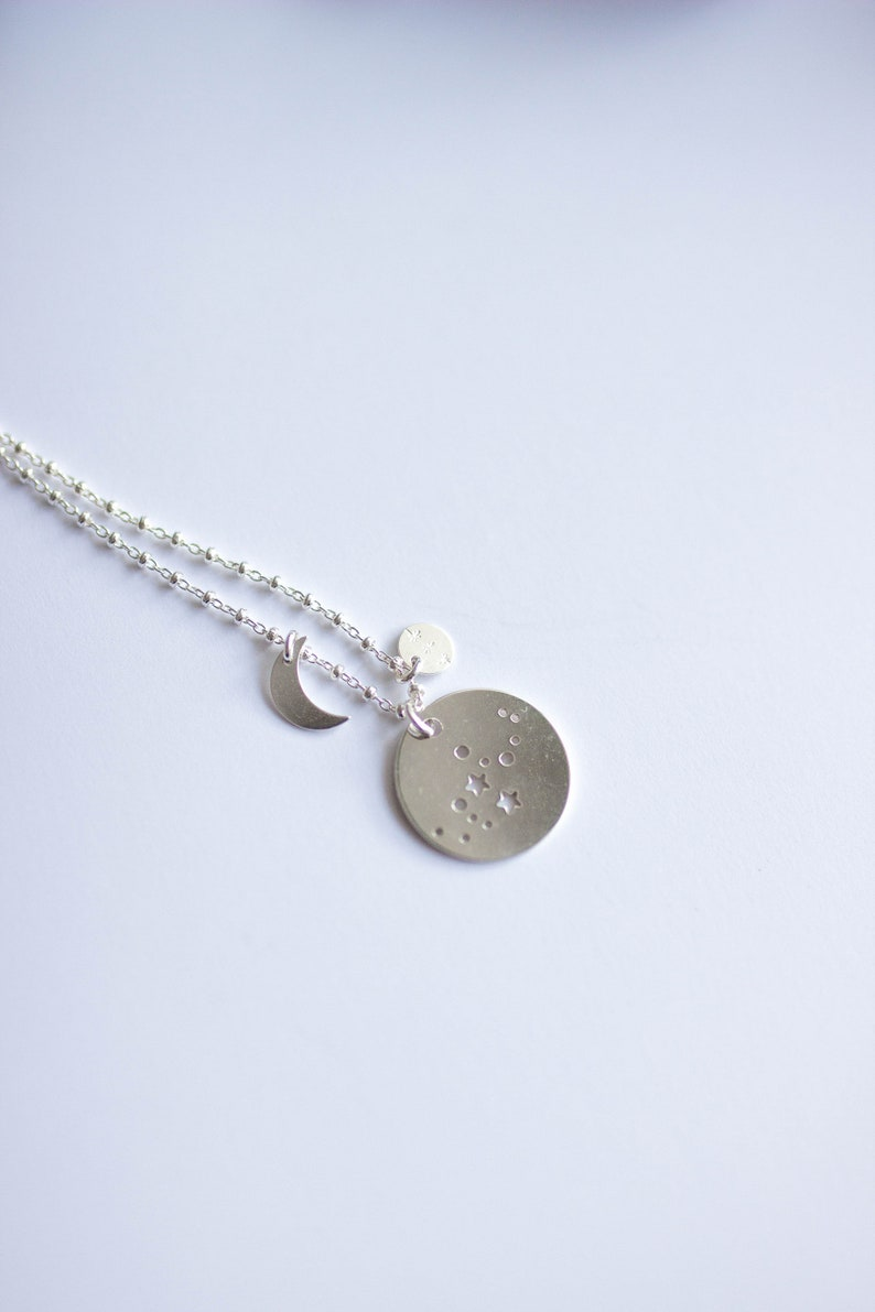 Necklace long constellation Zodiac astrology chain silver image 0