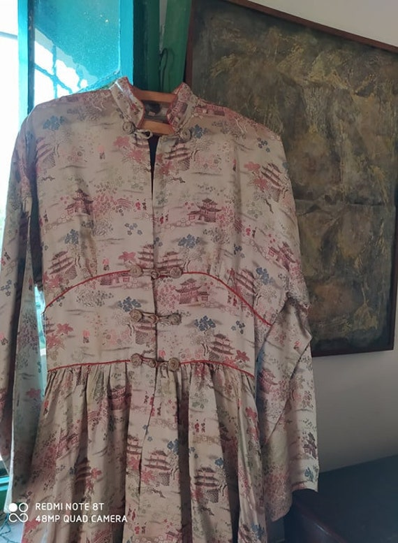 40s Japanese Rayon Satin Embroidered Wartime Gown