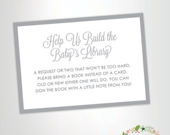 Bring a Book Instead of a Card -- Baby Shower Invitation Insert