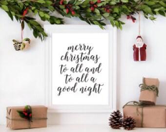 """Merry Christmas to All //  Printable Art // Home Decor //  8""""x10"""""""