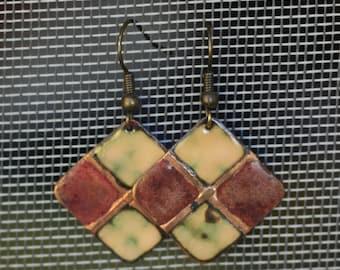 Copper Enamel Earrings