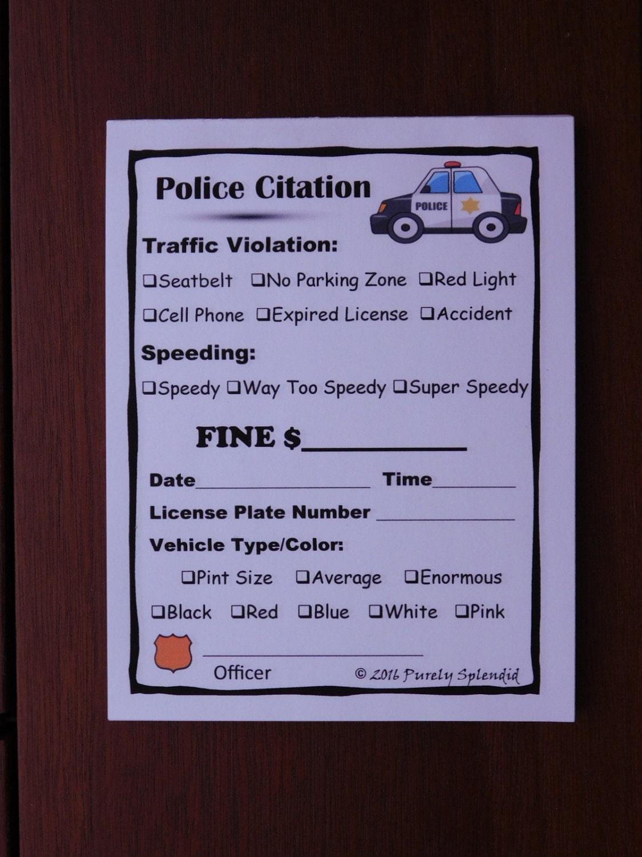 Fake Speeding Ticket Form Police Pretend Play Props Traffic