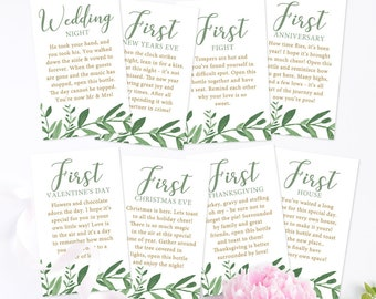 PRINTED & SHIPPED - A Year of Firsts Elegant Garden Greenery - Wine Gift Basket Tags - Bridal Shower Wine Gift