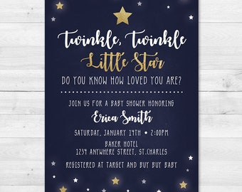 Twinkle, Twinkle Little Star, Do you know how loved you are - Baby Shower Invitation