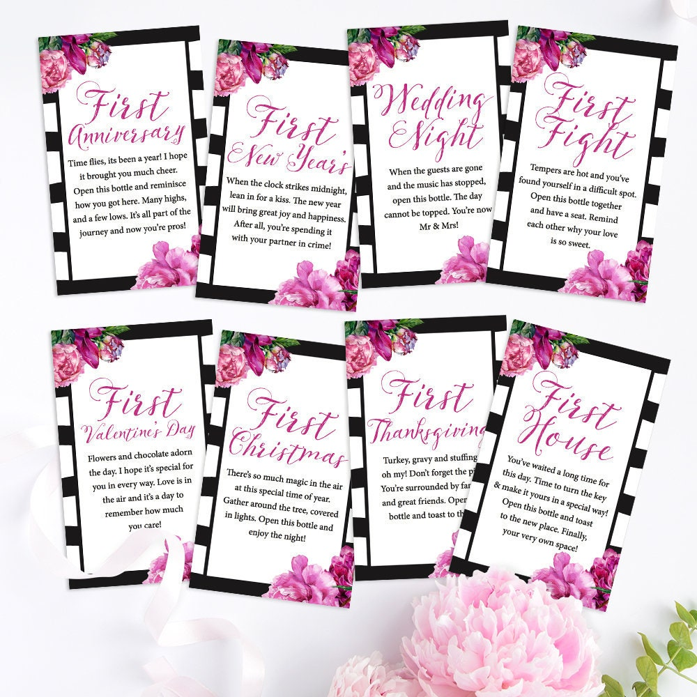 Instant Download - A Year of Firsts - Wine Gift Basket Tags - Bridal ...