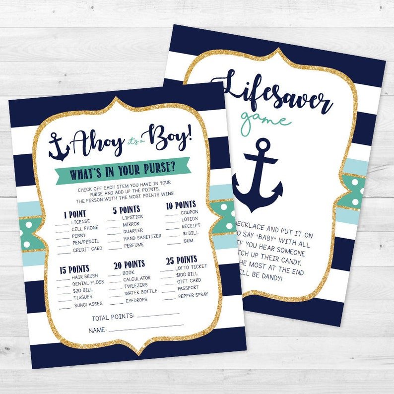Ahoy It's a Boy Baby Shower Games - Nautical, Anchor, Boat - Lifesaver &  What's in your purse