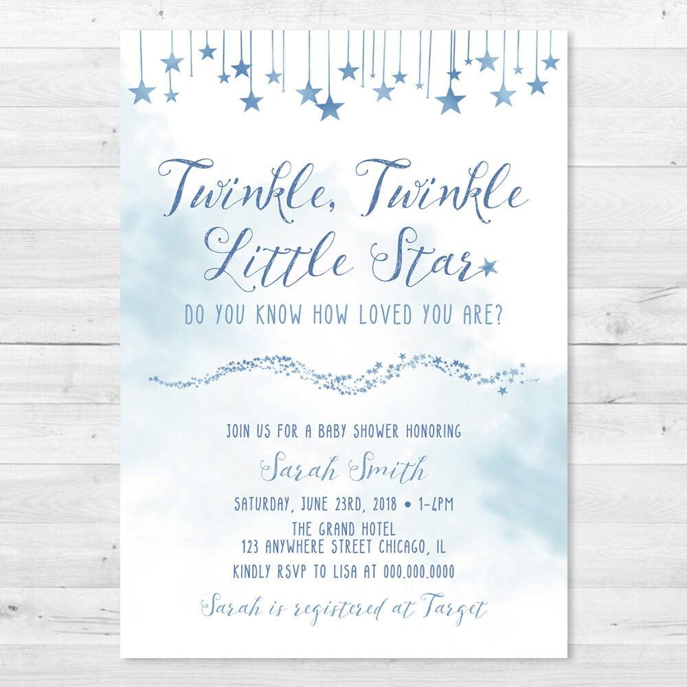 Watercolor Twinkle, Twinkle Little Star Baby Shower Invitation - Do ...