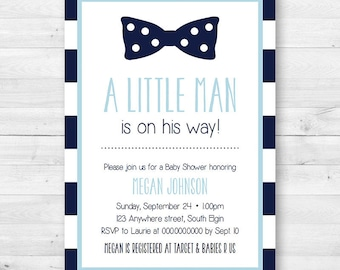 A little Man Is On The Way Baby Shower Invite - Bow Tie, Boy