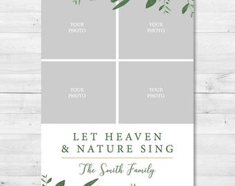 Let Heaven and Nature Sing Christmas Holiday Photo Card - Use Your Own Photo - Religious - Greenery, Simple