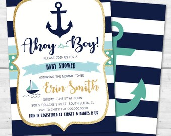 Ahoy It's a Boy Baby Shower Invitation - Nautical, Anchor, Boat - Turquoise & Navy Blue