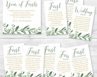 A Year of Firsts Elegant Garden Greenery - Wine Gift Basket Tags - Bridal Shower & Wedding Wine Gift